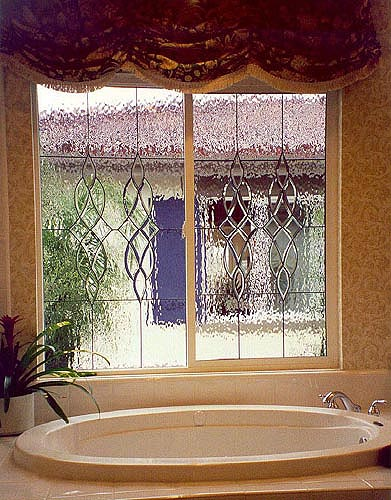 his bathroom view is obscured by our Waterglass, an excellent choice in areas where privacy is desired